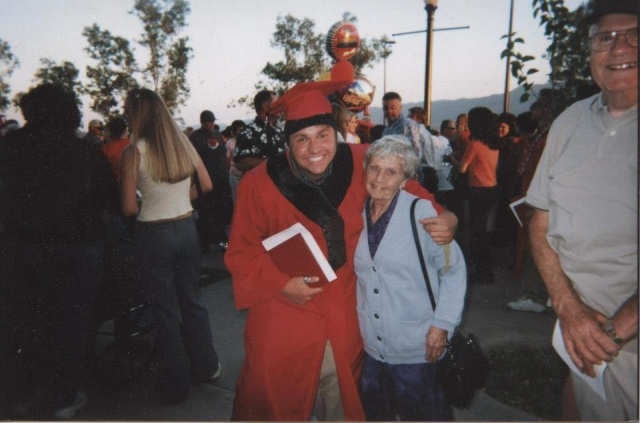 Philip and his grandmother, Helen, at graduation. Elsinore High School 2002.